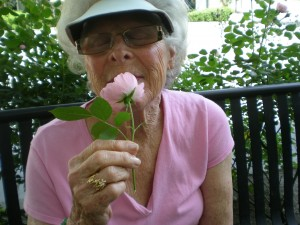 Ruth enjoying the roses