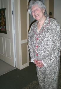 My MIL Ru wearing Tiger(s) pajamas