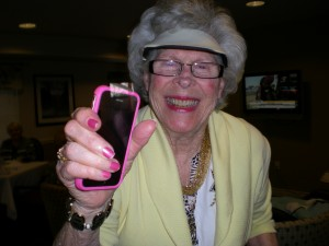 My MIL Ru turns to my iphone for entertainment