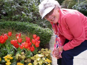 My MIL Ru smelling the ROSES?